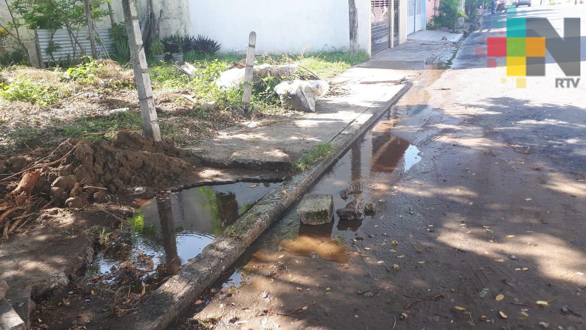Reportan fuga de agua en colonia Playa Linda de la ciudad de Veracruz