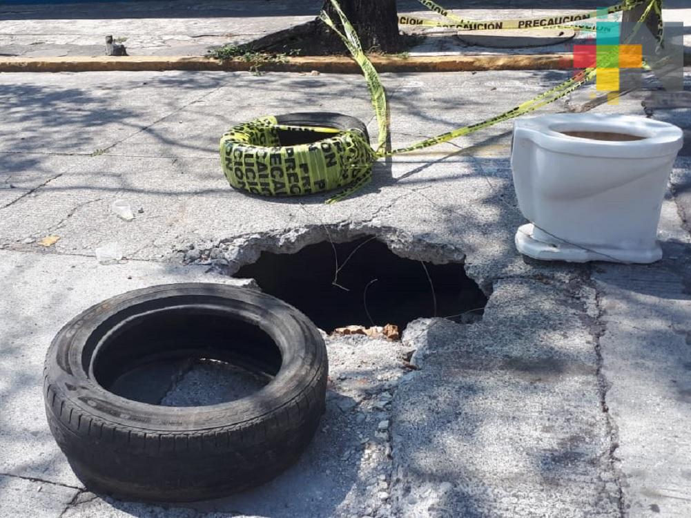 Sin ser atendido  hundimiento en Centro Histórico de Veracruz