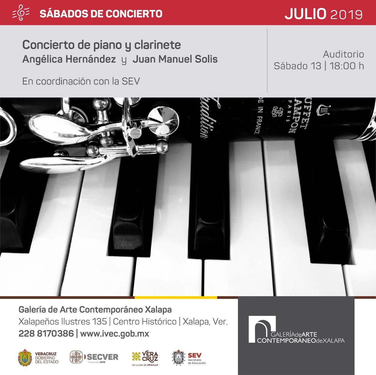 Este sábado concierto de piano y clarinete, en la GACX