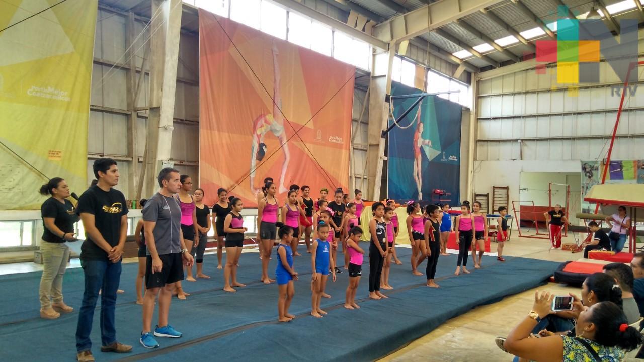 Realizan exhibición de gimnasia artística en Centro de Alto Rendimiento de Coatzacoalcos