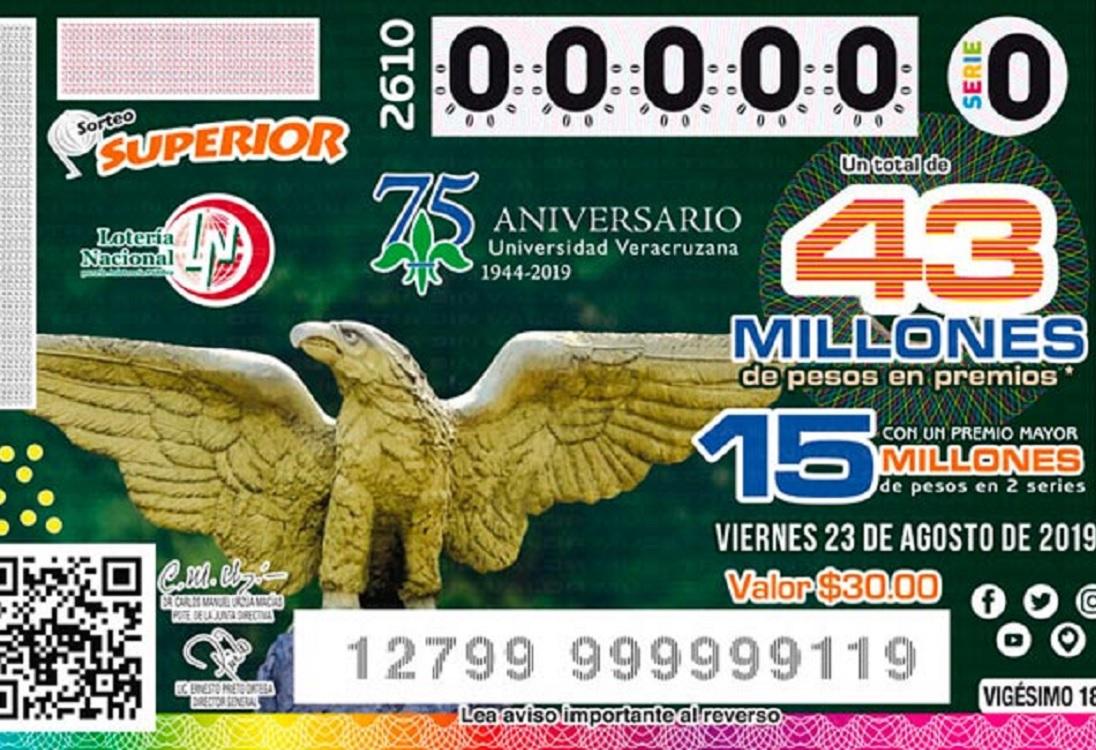 Lotería Nacional dedicó billete al 75 aniversario de la Universidad Veracruzana