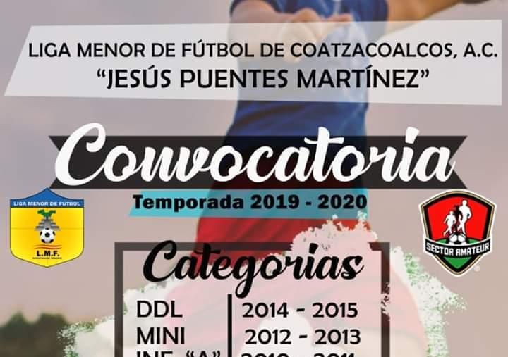 Convocan a temporada 2019-2020 de Liga Menor de Futbol