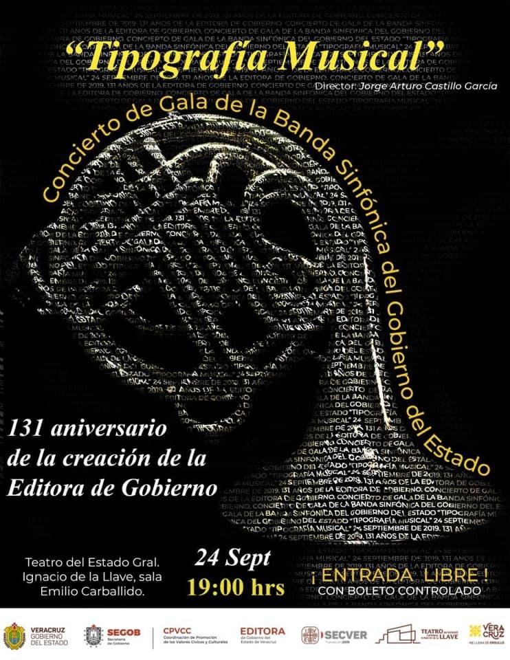 """Concierto de gala """"Tipografía musical"""" conmemorativo al 131 Aniversario de la Editora de Gobierno"""