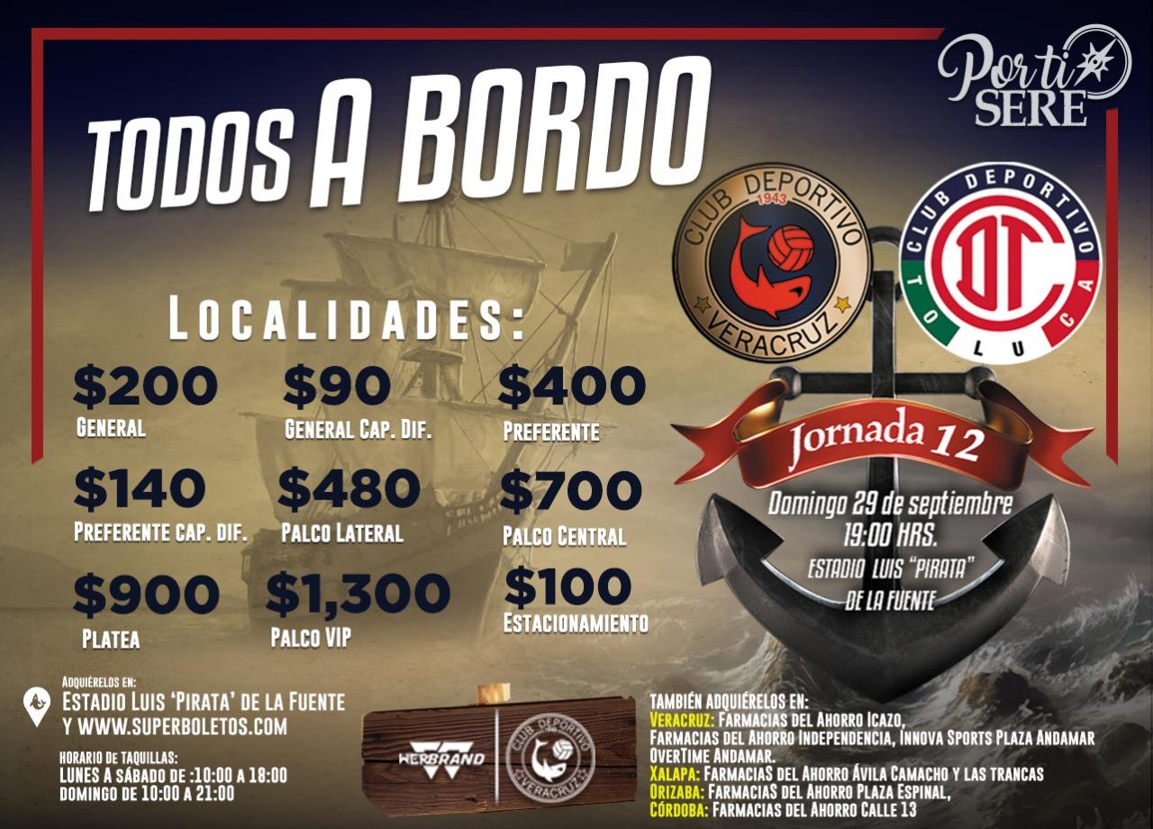 Hasta 1,300 pesos el costo de boletos para el juego Veracruz vs Toluca