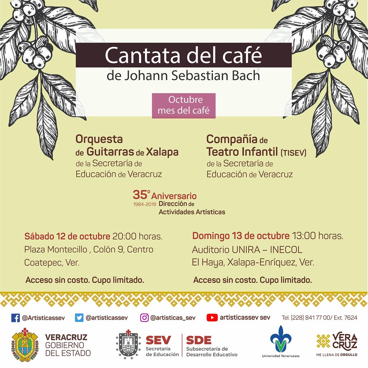 Orquesta de Guitarras de Xalapa interpretará la Cantata del café de Bach