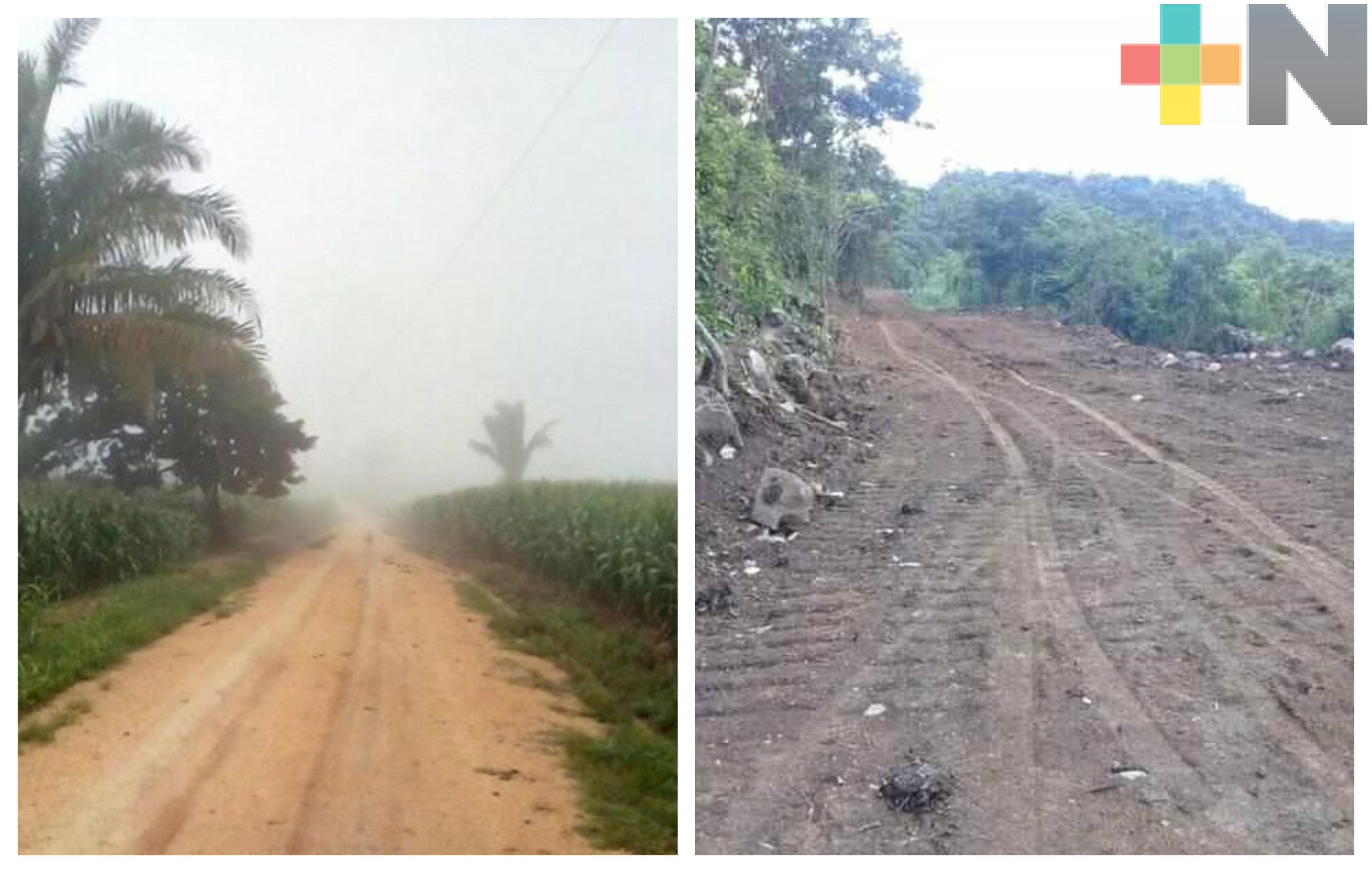 Solicitan carpeta asfáltica para comunicar a El Palmar, Hueyapan de Ocampo