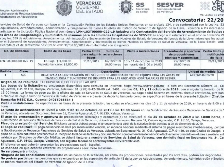 Publican licitación para equipar unidades hospitalarias de la Secretaría de Salud en Veracruz