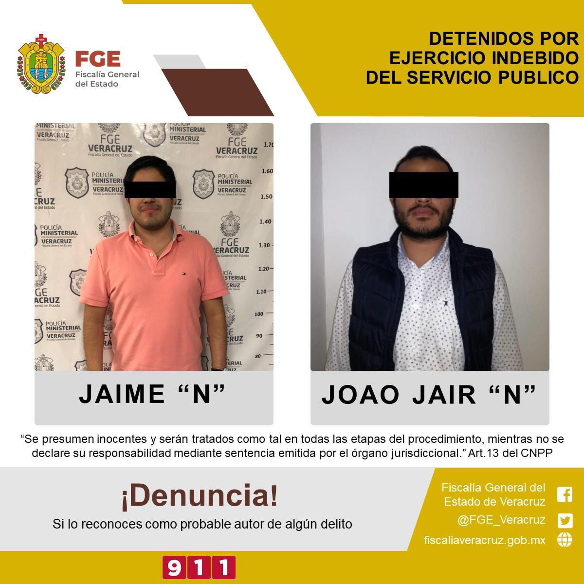 """FGE detiene a Jaime """"N"""" y Joao Jaír """"N"""" por presunto ejercicio indebido del servicio público"""