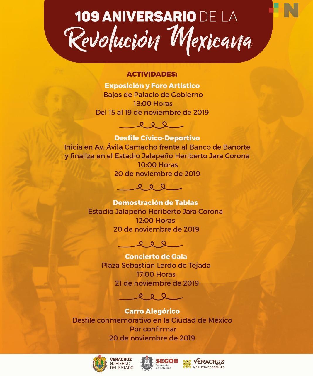 Invitan a participar en las actividades culturales por el 109 Aniversario de la Revolución Mexicana