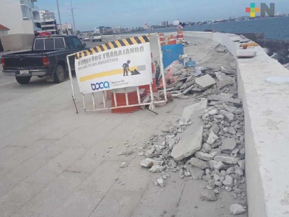 Continúan daños ocasionados por Frente Frío 8 a bulevar Ávila Camacho de Boca del Río
