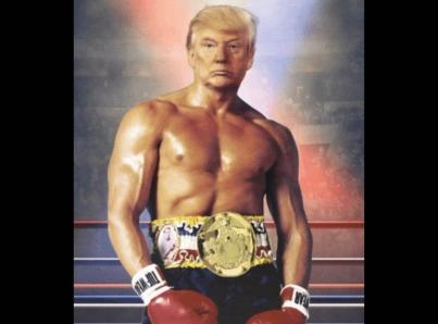 "Trump postea fotomontaje de ""Rocky Balboa"""