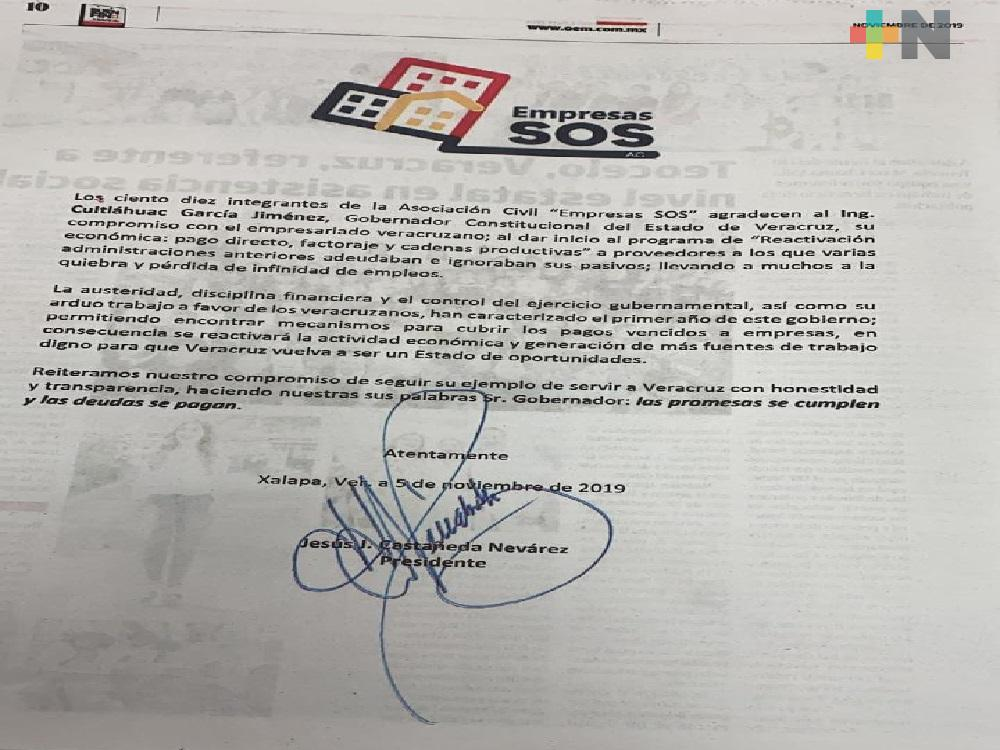 Empresarios SOS agradecen que esta administración pague adeudos