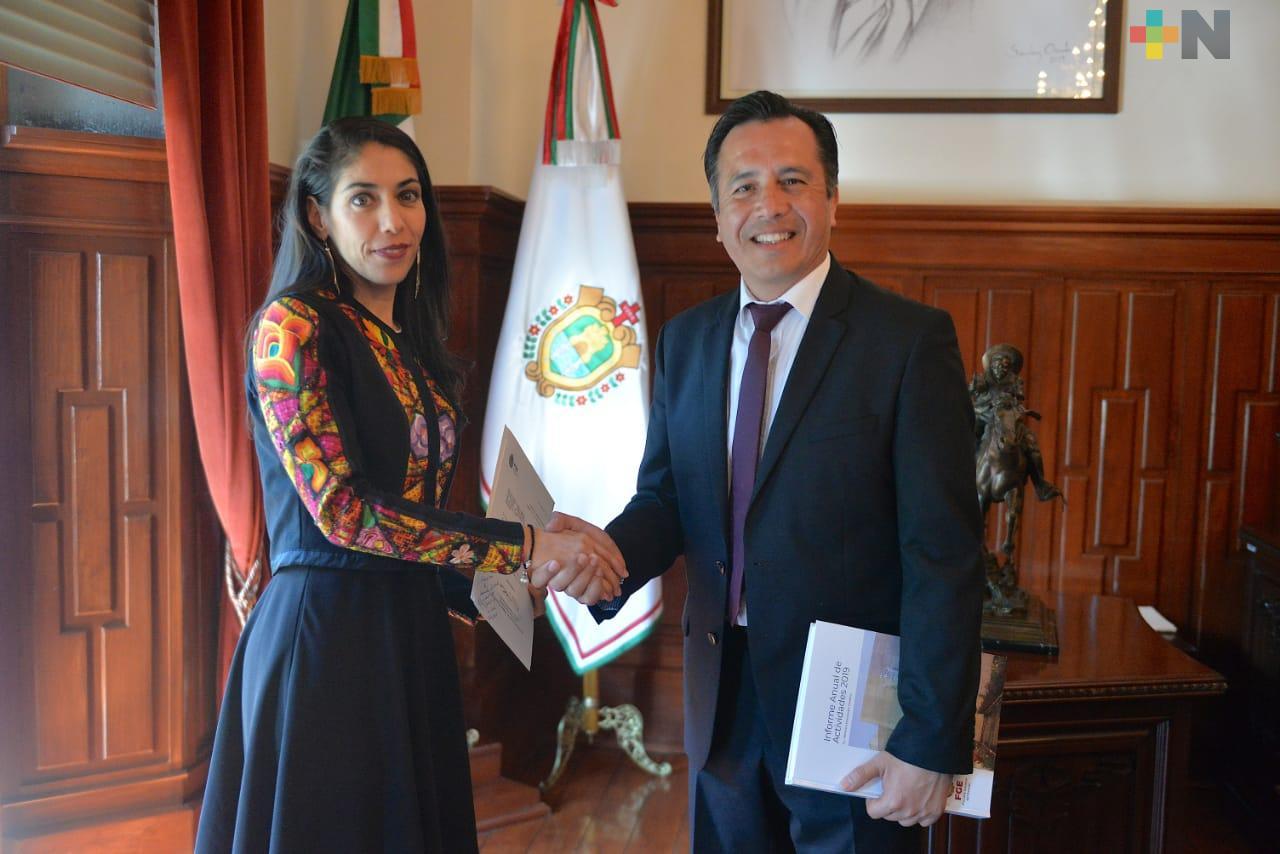 Entrega FGE Informe Anual de Actividades al gobernador Cuitláhuac García