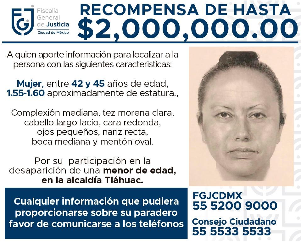 Difunden retrato hablado de mujer que se llevó a Fátima; ofrecen 2 mdp