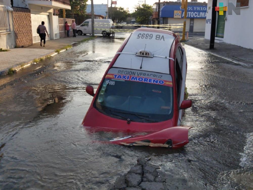 Fuga de agua que provocó socavón en municipio de Veracruz, ya había sido reportada