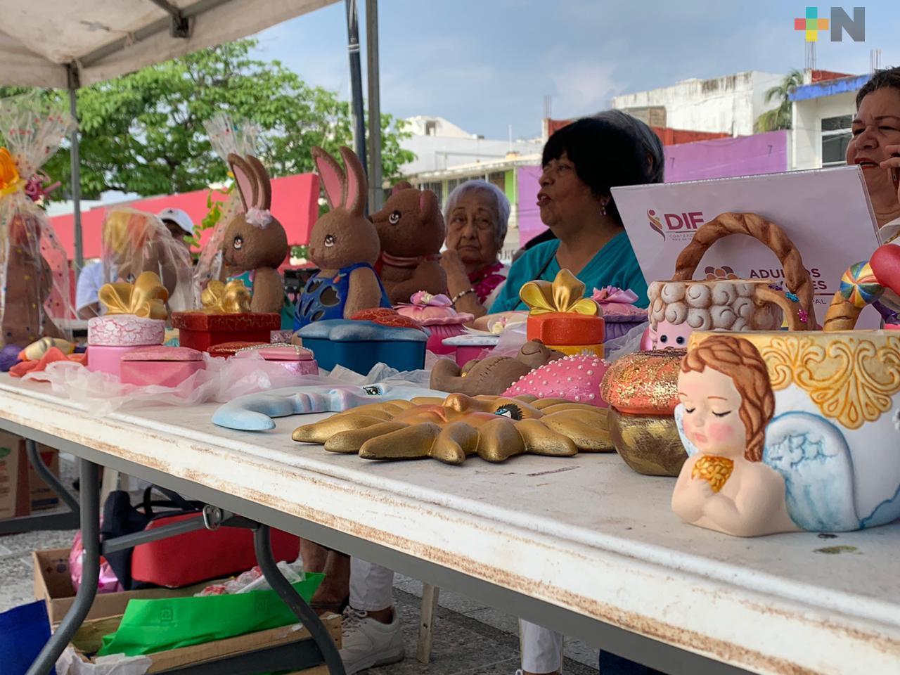 Talleres del Inapam exponen sus productos en el parque Independencia de Coatzacoalcos