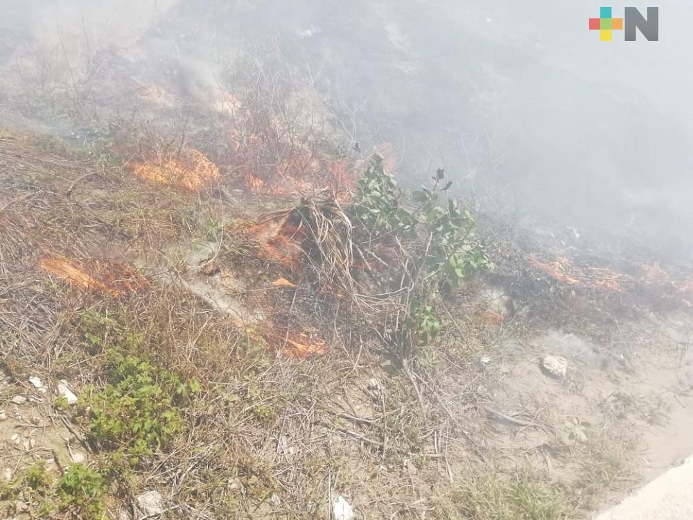 Surada y altas temperaturas provocan incendios de pastizales en Coatzacoalcos
