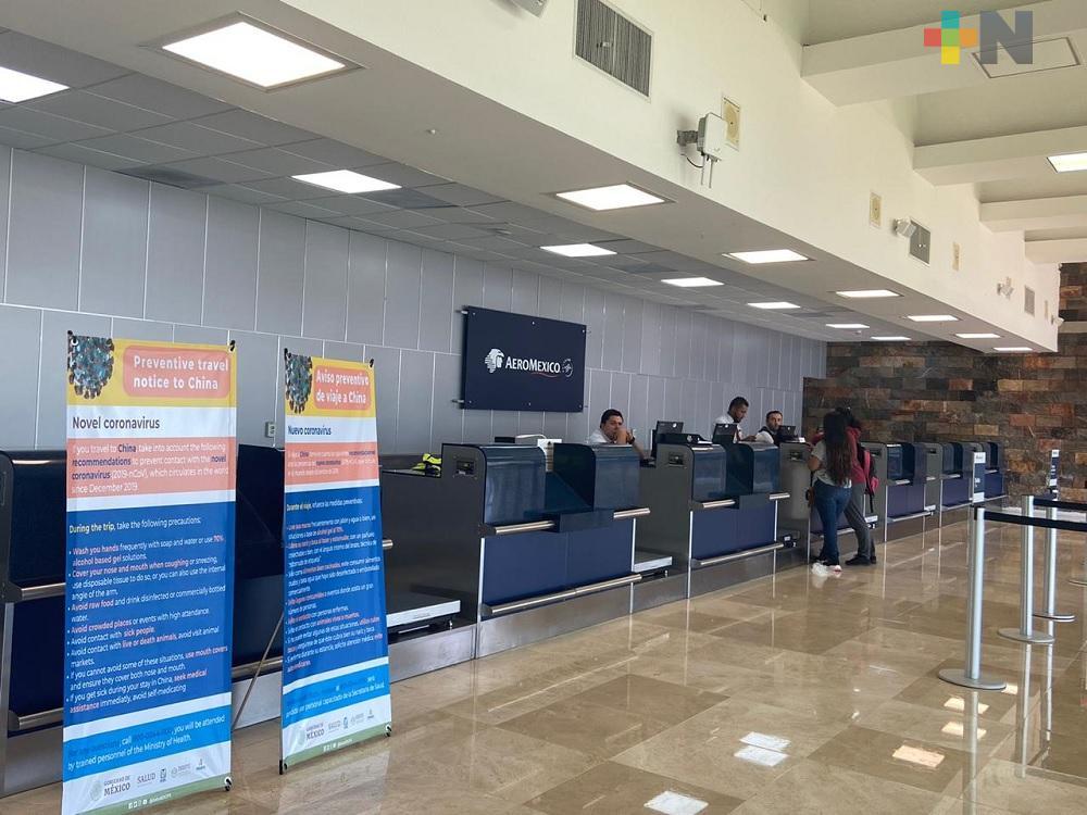 En Aeropuerto de Minatitlán, toman medidas preventivas por Covid-19
