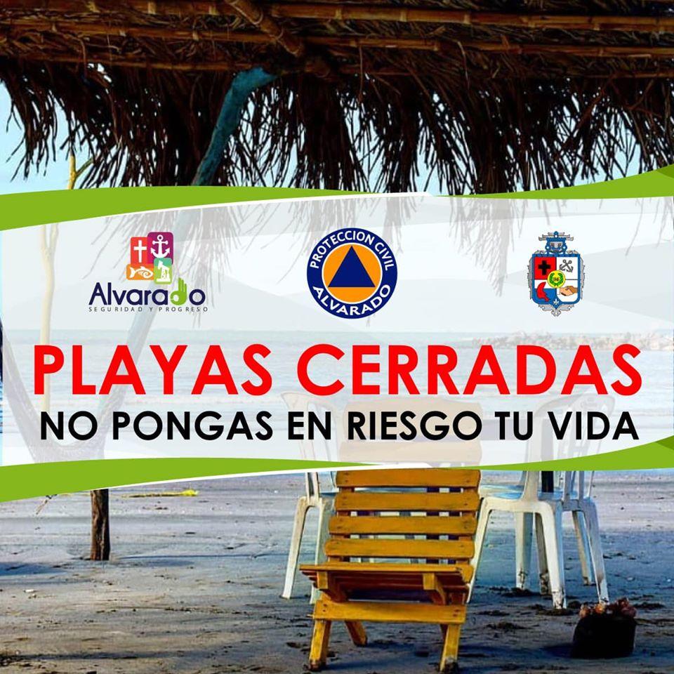 Anuncian cierre de playas en Alvarado