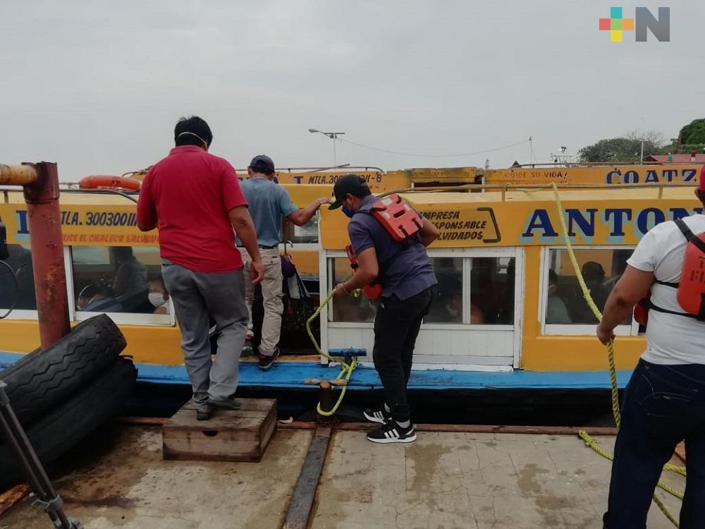 Persona sin cubrebocas no podrá acceder a transbordador ni lanchas en Coatzacoalcos