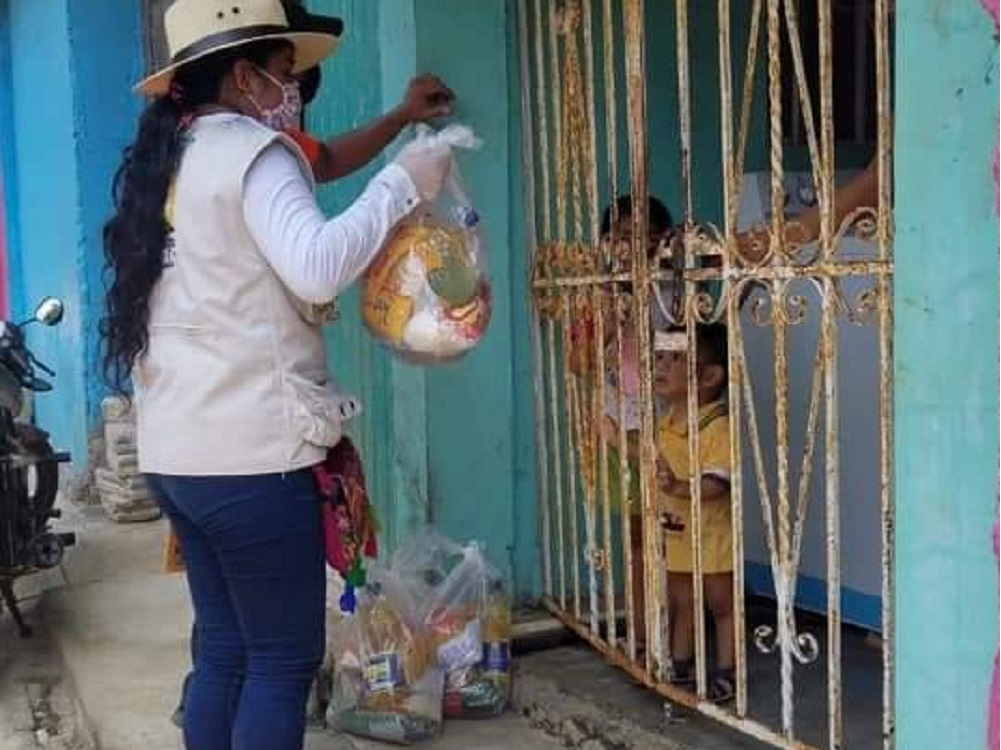 Por contingencia sanitaria, entregan despensas a familias de Santiago Tuxtla
