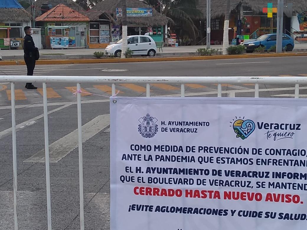 Cierran bulevar en la ciudad de Veracruz como medida preventiva