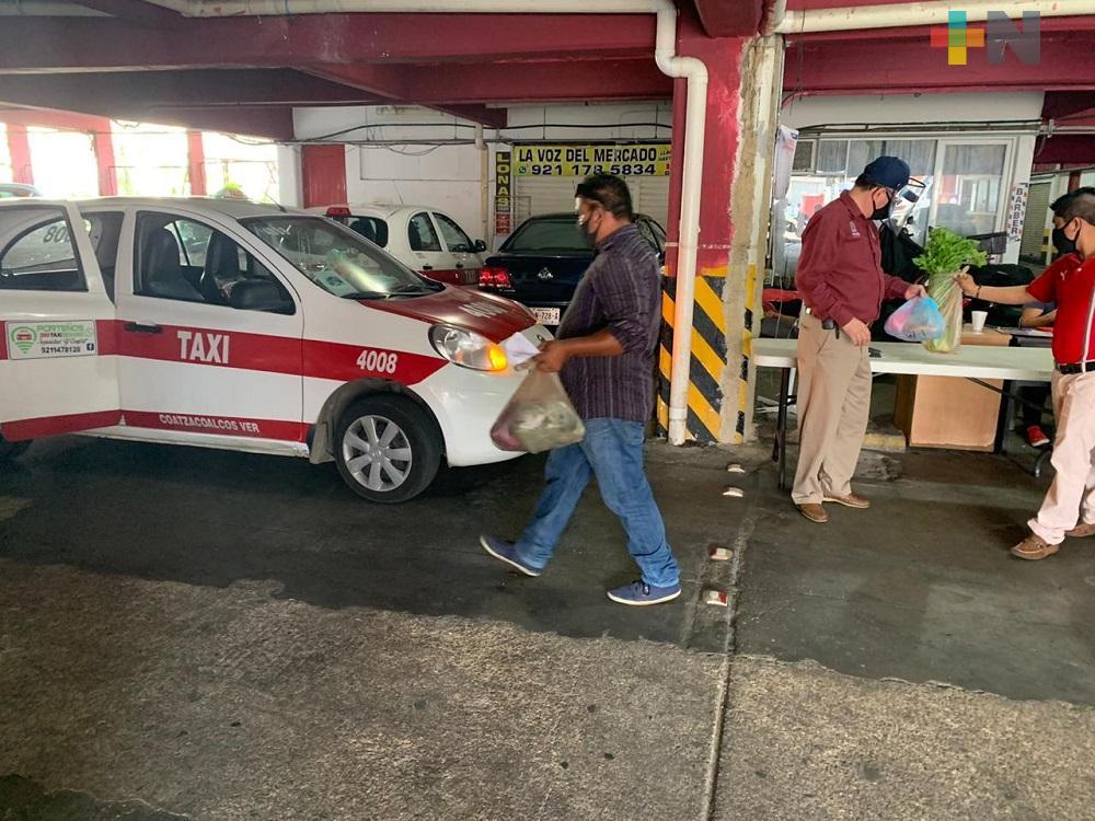 """Programa """"Del mercado a tu hogar"""", ha beneficiado a locatarios y taxistas del Mercado Coatzacoalcos"""