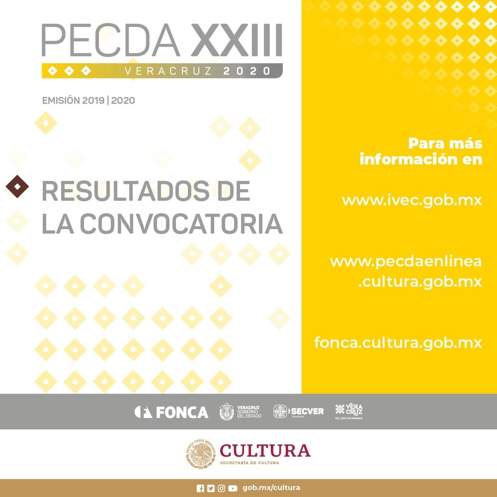 El Fonca y Veracruz dan a conocer los resultados del PECDA emisión 2019-2020