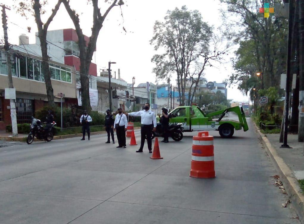 Tránsito del Estado implementa diversas acciones para limitar la movilidad del primer cuadro en Xalapa