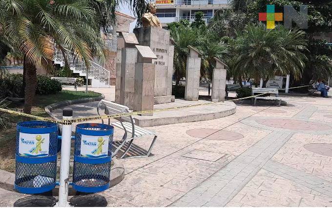 Cierran calles del centro de Tuxpan para evitar movilidad ciudadana
