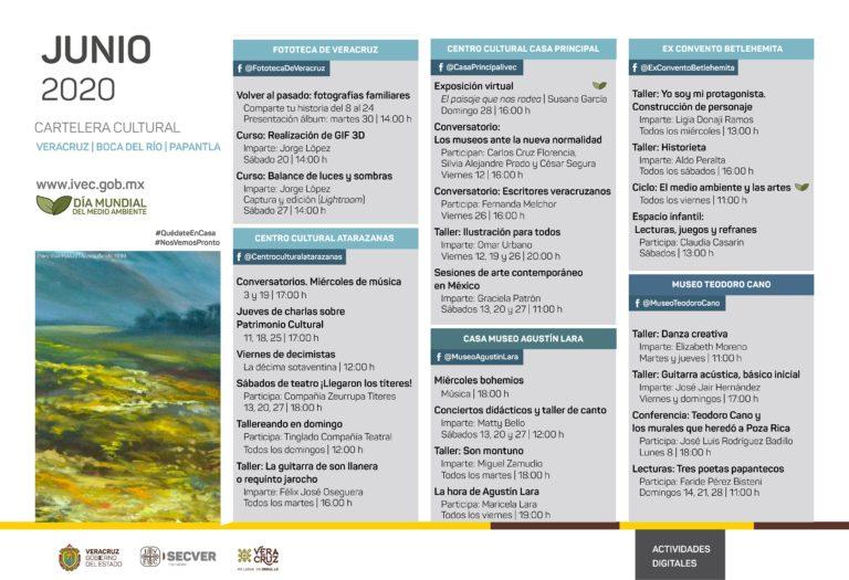 Cartelera de actividades para disfrutar Junio Cultural con Ambiente, desde el entorno digital