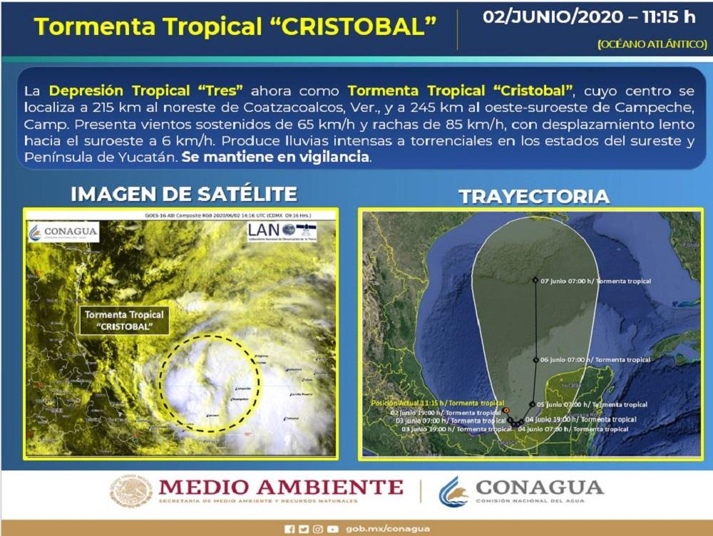Emite PC Alerta SIAT-CT por Tormenta Tropical Cristóbal