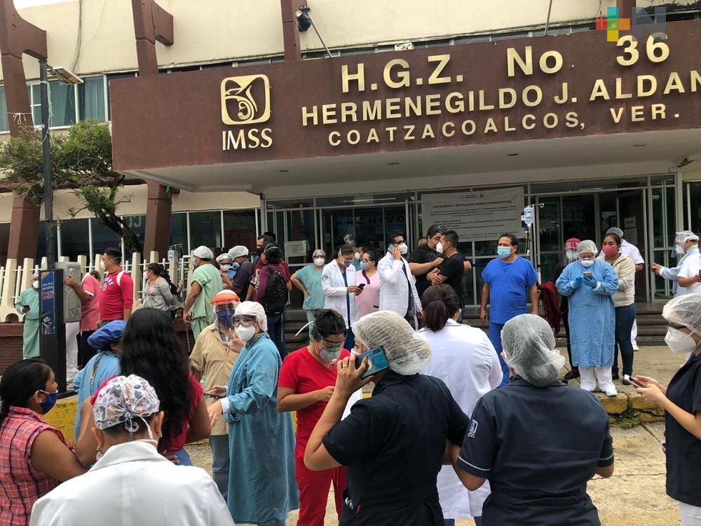 IMSS de Coatzacoalcos evacua a pacientes y personal médico por sismo