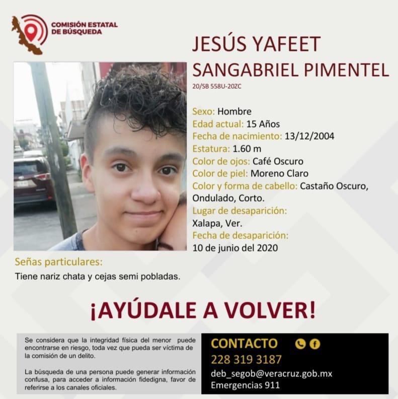 Solicitan apoyo para localizar a Jesús Yafeet Sangabriel Pimentel
