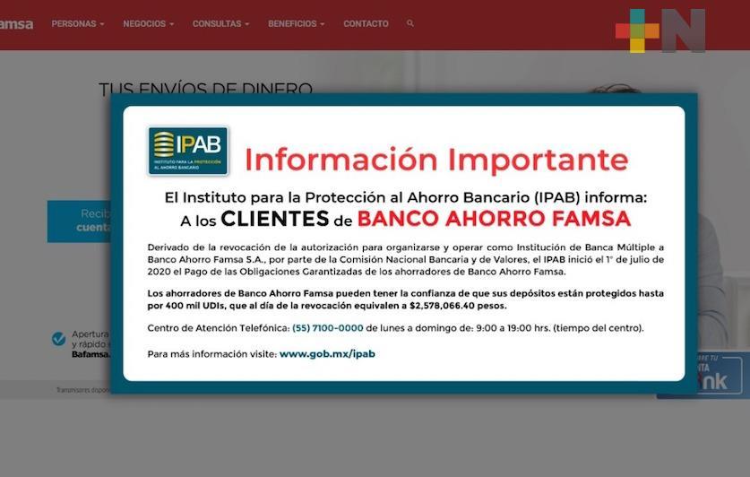 Cuentahabientes ya pueden recuperar su dinero del Banco de Ahorro Famsa; alertan de llamadas falsas