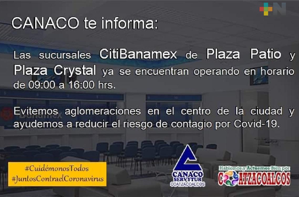 En Coatzacoalcos, Banamex abre dos sucursales más para reducir aglomeraciones  de cuentahabientes