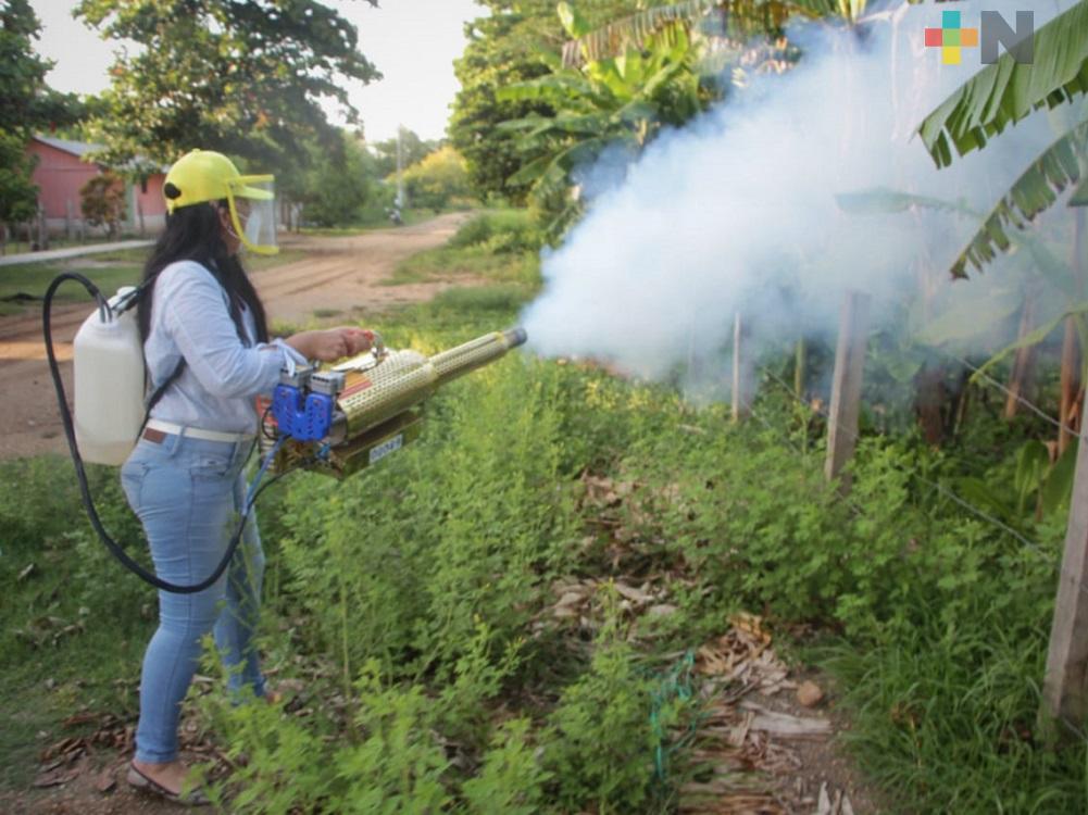 Fumigan calles de Chacaltianguis, para combatir dengue, zika y  chikungunya
