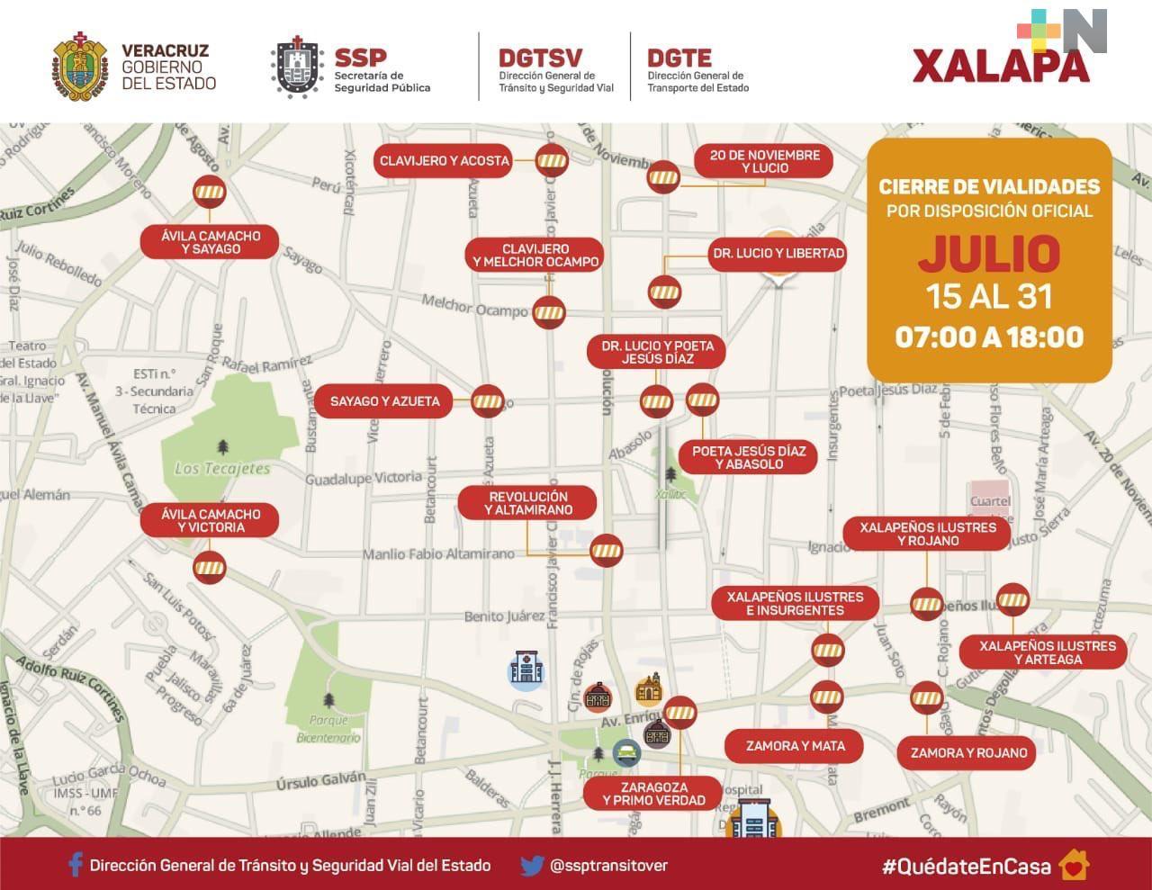 Cierre de vialidades en el primer cuadro de Xalapa a partir de este miércoles