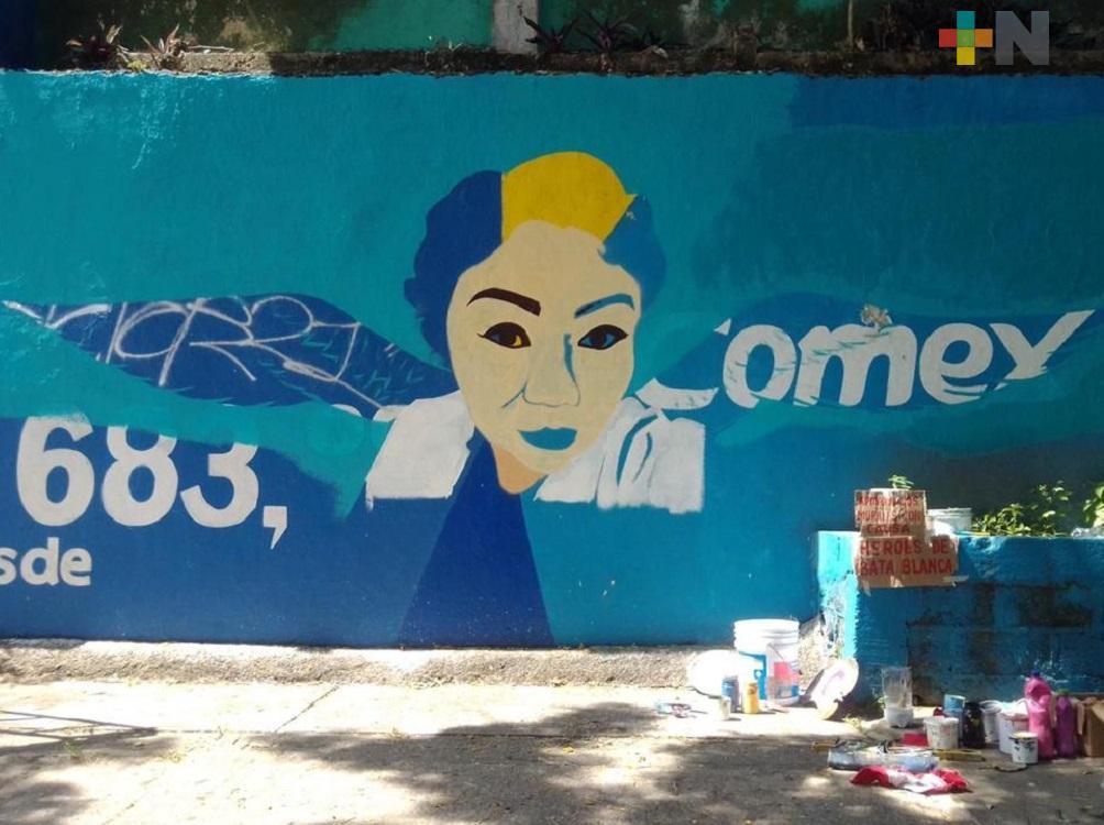 Inician artistas urbanos de Coatzacoalcos segundo mural en honor a los héroes de bata blanca