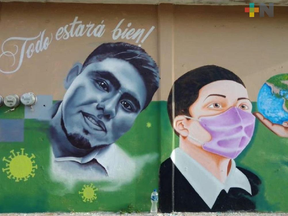 Mural dedicado al personal de salud, queda concluido en Coatzacoalcos