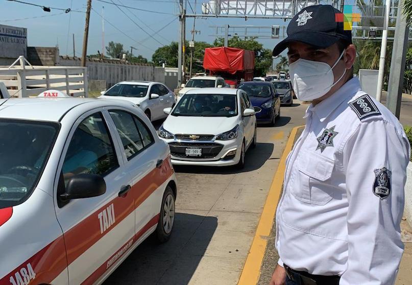 Tránsito del Estado supervisó filtros sanitarios en el sur de Veracruz