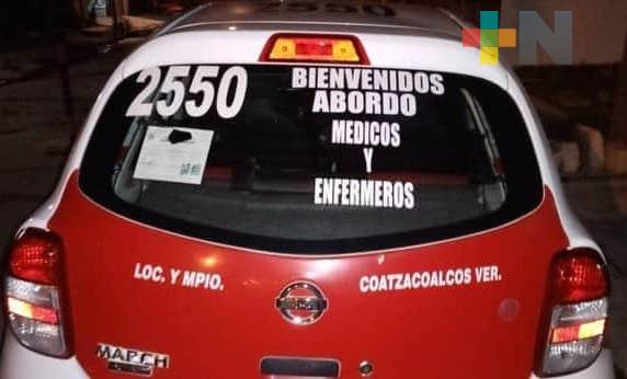 Reconocen labor de taxista de Coatzacoalcos en esta pandemia