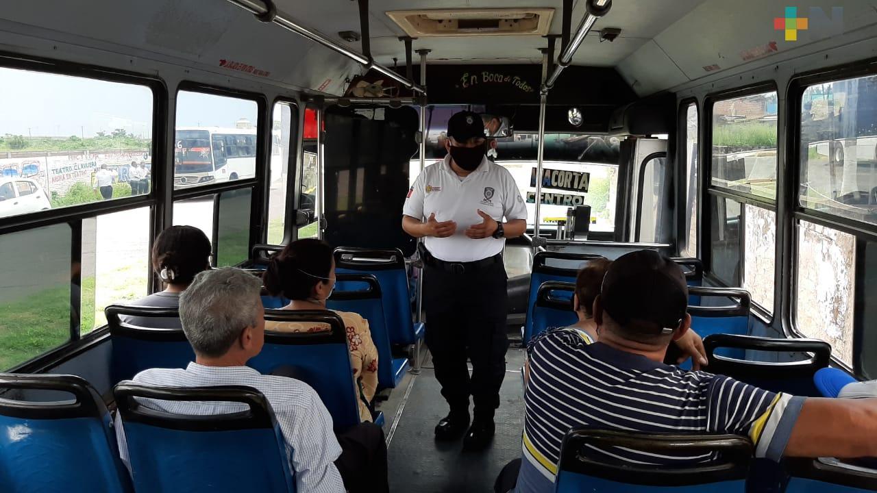 Mantienen operativos de revisión sanitaria en transporte público de Veracruz y Boca del Río