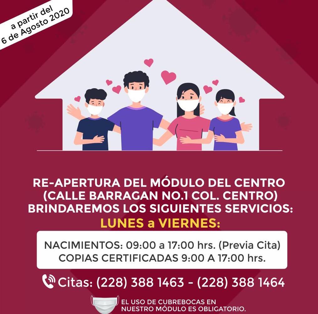Reabren módulo del Registro Civil en centro de Xalapa