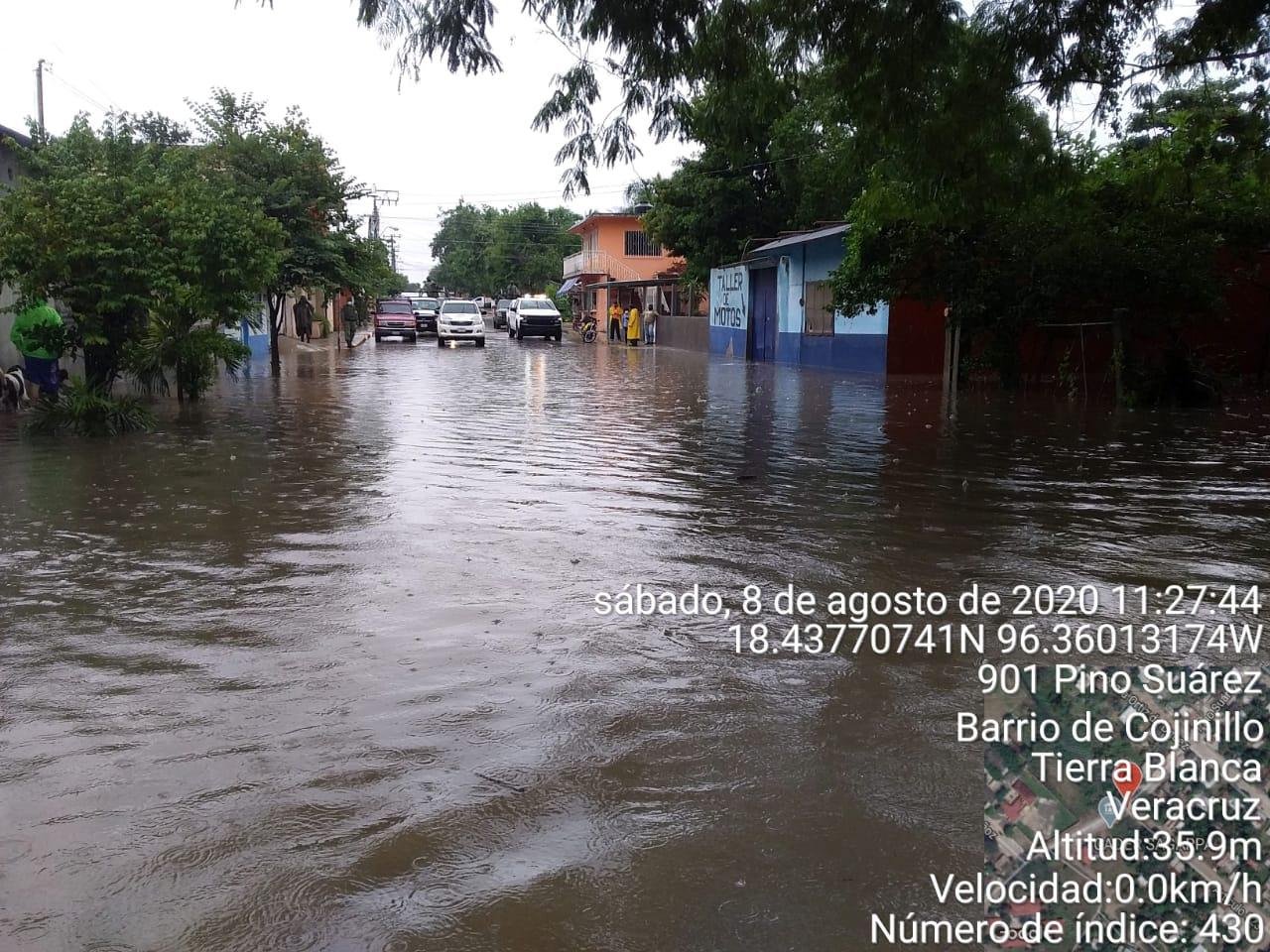 Lluvias provocan afectaciones en ocho municipios de Veracruz