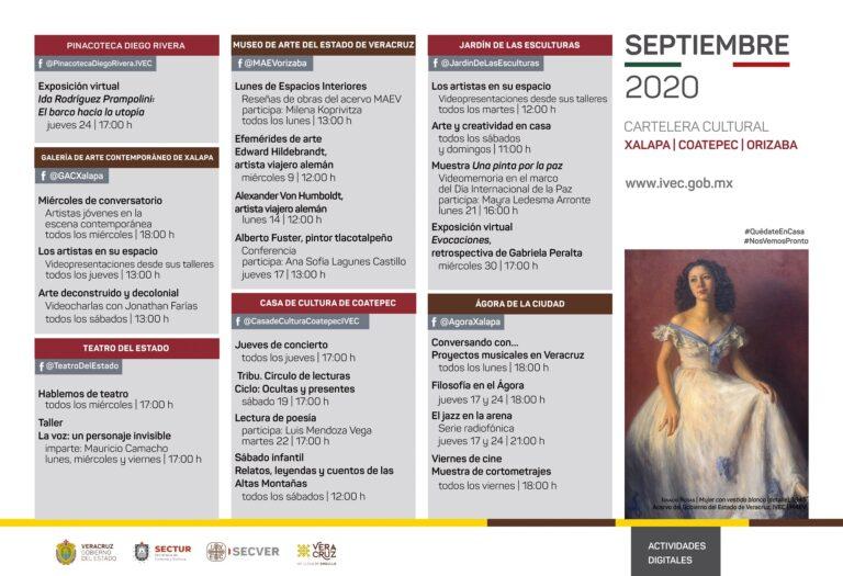 Presenta IVEC cartelera de actividades para septiembre