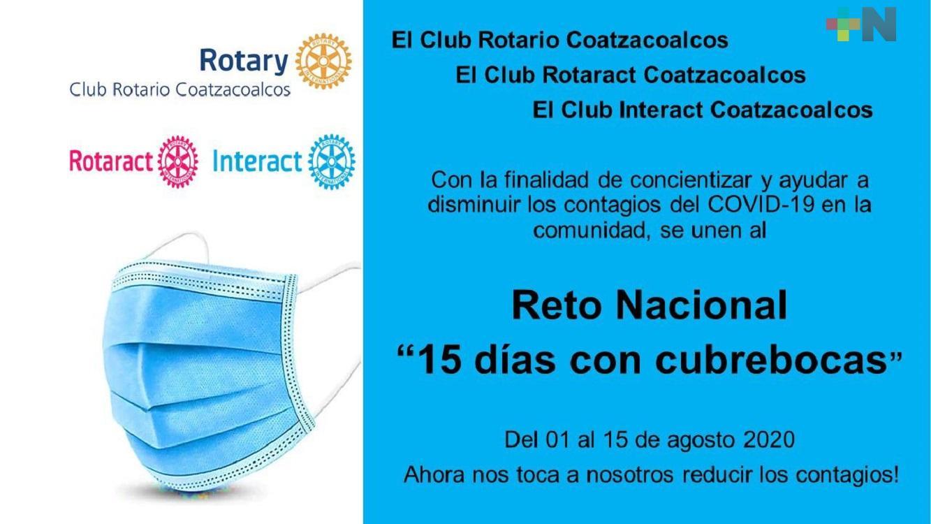 Club Rotario de Coatzacoalcos se une al reto de utilizar diariamente cubrebocas