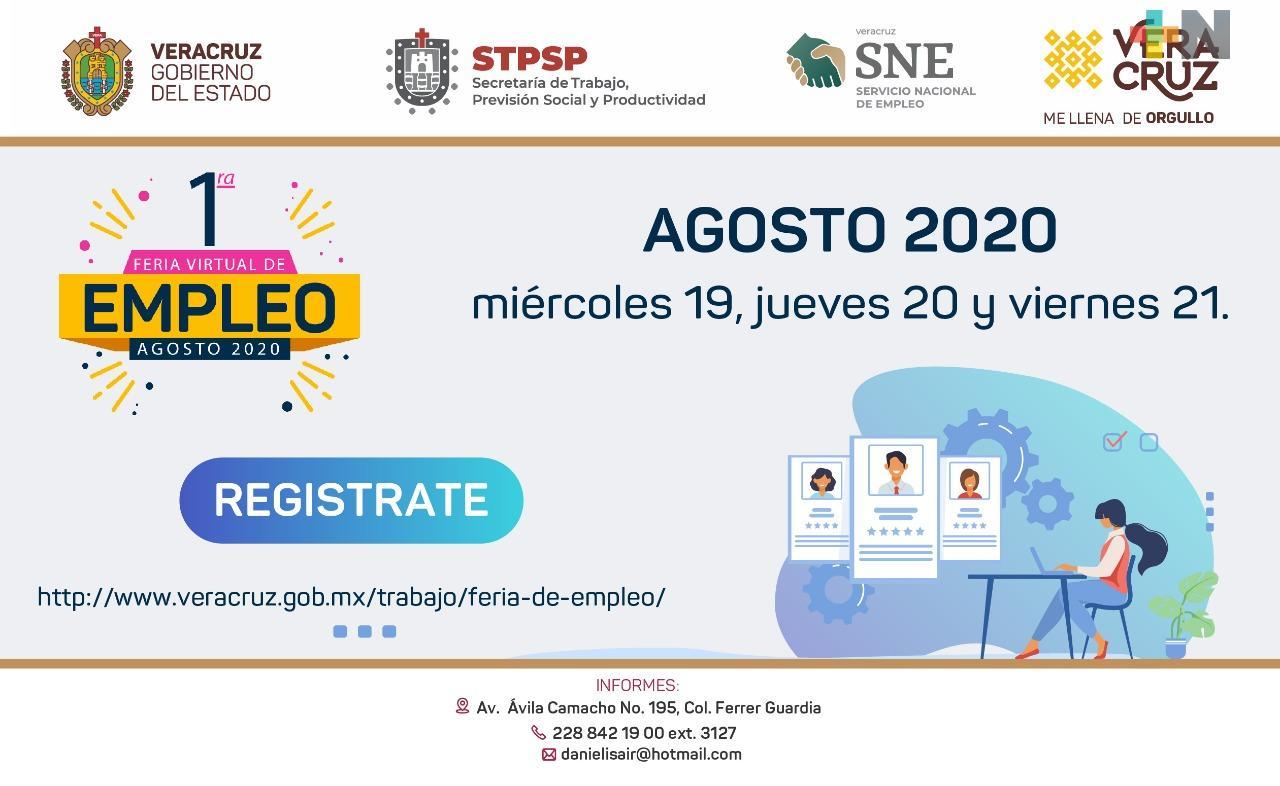 Más de mil 800 vacantes en la primera Feria Virtual del Empleo Veracruz Agosto 2020: Secretaría de Trabajo