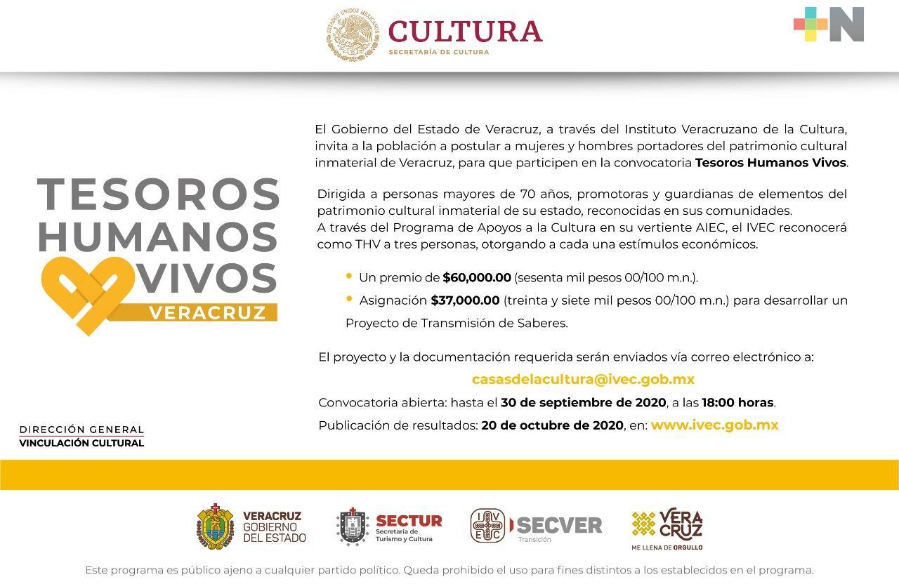 Convoca IVEC a reconocer los Tesoros Humanos Vivos de Veracruz
