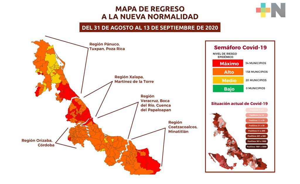 En Veracruz, 34 municipios permanecen en color rojo, 158 en naranja y 20 en amarillo